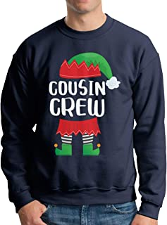Cousin Crew Christmas Elf- Printed Men's Long Sleeve Cotton Black Hooded