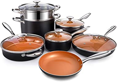 MICHELANGELO Copper Pots and Pans Set Nonstick 12 Piece, Ultra Nonstick Copper Cookware Set with Ceramic Titanium Coating, Ceramic Pots and Pans Set Nonstick, Ceramic Cookware Set, OVEN Safe - 12 Pcs