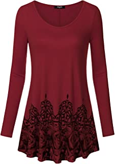 Lotusmile Womens Long Sleeve Scoop Neck Casual Tunic Vintage Floral Bottom Pleated Shirts