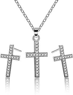 Almusen Fashion cross Drop Earrings for Women plating Hypoallergenic mosaic cubic zirconia Jewelry for women Earrings Gift...