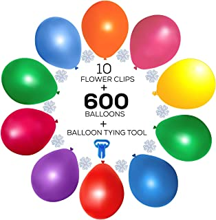 GoPartySupplies 600 Party Balloons (9 inch, Assorted Colors) + 10 Flower Clips + 1 Balloon Tying Tool - ideal for Balloon Time Helium Tanks - Bulk Pack for All Party Decorations