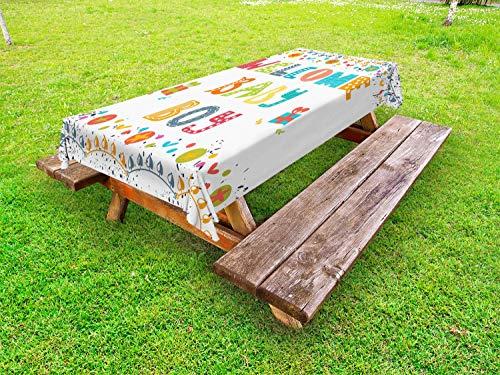 ABAKUHAUS Babyshower Tafelkleed voor Buitengebruik, Welkom Baby Boy Woorden, Decoratief Wasbaar Tafelkleed voor Picknicktafel, 58 x 104 cm, Veelkleurig