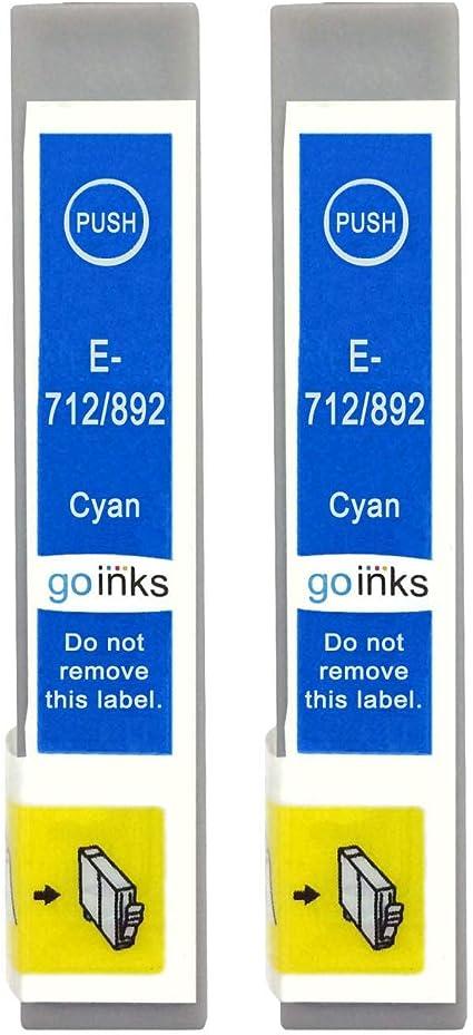 Go Inks E 712 Kompatible Cyan Tintenpatrone Als Ersatz Für Epson T0712 Zur Verwendung Mit Epson Stylus Druckern 2 Stück Bürobedarf Schreibwaren