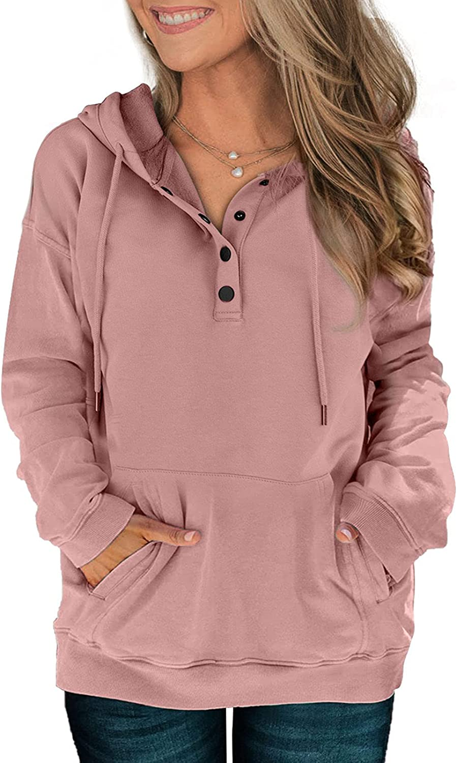 Davenil Womens Hoodies Sweatshirts Casual Long Sleeve Half Zip/Button Down Pullover Drawstring Loose Tops with Pockets