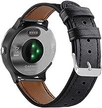 Abanen for Garmin Vivoactive 3/Forerunner 245/645 Watch Band, 20mm Genuine Leather Quick Easy Relase Wristband Strap for Garmin Vivomove/HR,Vivoactive 3 Music (Black)
