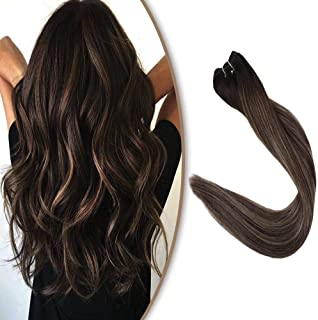 Full Shine Color #2 Dark Brown Fading to #3 and #27 Honey Blonde Weft Hair 100% Human Hair Bundles Remy Hair Extensions Straight Hair Weft Extensions 18 inch Real Hair Full Head Sew In Hair 100g