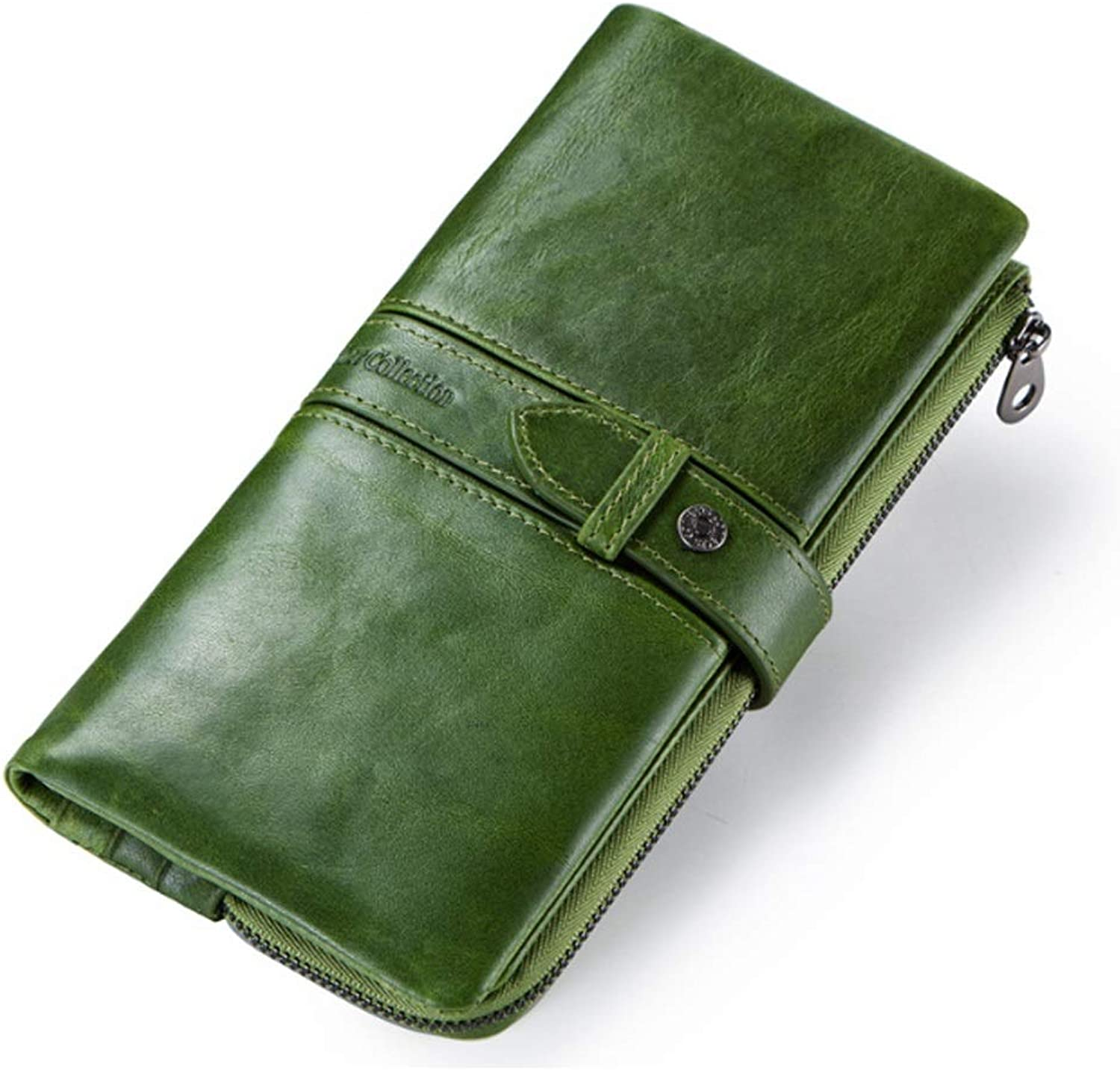 Women's Wallet Leather Casual Buckle Long Clutch (color   Green, Size   S)