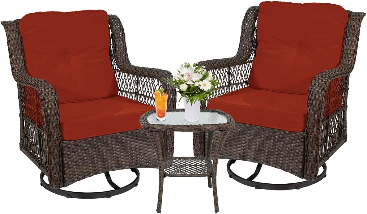 Outdoor 3-Piece Phoenix Mall Rocking SEAL limited product Chair w Swivel Cha 2 360-Degree