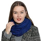 Bufanda de invierno tipo cuello suave y cálida para mujer con diseño de punto - Azul