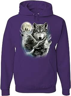 Tee Hunt Howling Wolf Pack Hoodie Wild Wilderness Animals Nature Moon Sweatshirt