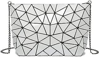 Fine Bag/Women's Shoulder Bag Trapezoidal Triangle Crossbody Bag Diamond Variety Handbag Trend (Color : Silver, Size : One Size)