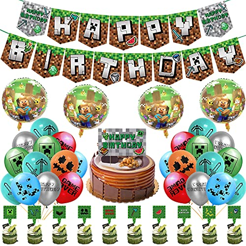 Sinwind Vídeo Game Partyzubehör Video Game Decorations Banner Birthday Decorations con Globos Cake Topper para niños cumpleaños Festival Decoración