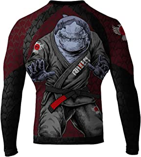 Raven Fightwear Men's Shark Attack MMA BJJ Long Sleeve Rash Guard