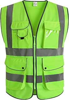 XIAKE Class 2 High Visibility Safety Vest with 9 Pockets, Zipper Front, ANSI/ISEA Standards, Green, Medium