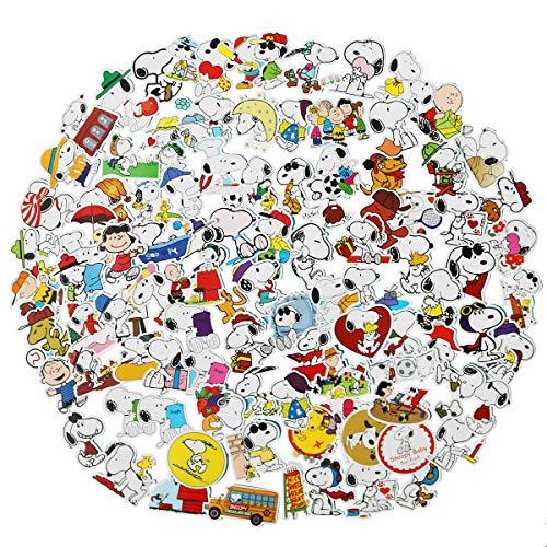 100PCS Cute Snoopy Art Vinyl Waterproof Stickers Computer Car Skateboard Motorcycle Bicycle Luggage Guitar Bike Decal (Snoopy)