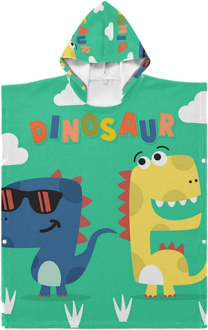 N Online limited product A Kids Hooded National uniform free shipping Beach Bath - Cartoon Dinosaur Towel Baby
