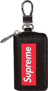 Leather Car Smart Key Chain Universal Key Holder Bag Black Zipper Case Cover Wallet Bag Shell Fob Ring (P Five)