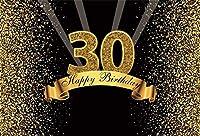HD 7x5ftハッピーバースデーの背景ビニールキラキラゴールドと黒の写真スタジオのブースの背景大人ハッピー30歳の誕生日パーティーの装飾バナーの写真撮影の背景