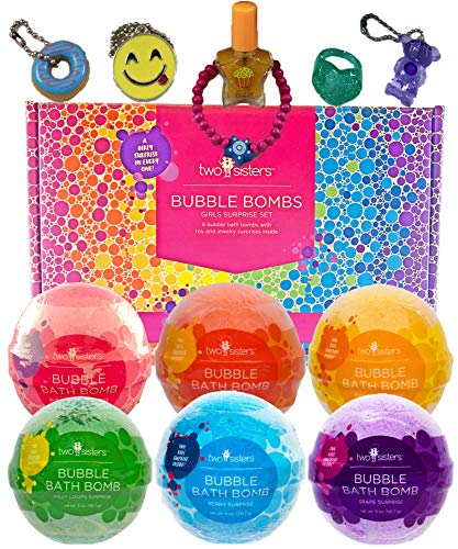 Bubble Bath Bombs for Kids with Surprise Toys Inside for Boys and Girls by Two Sisters. 6 Large 99% Natural Fizzies in Gift Box. Releases Color, Scent, and Bubbles (Girl)