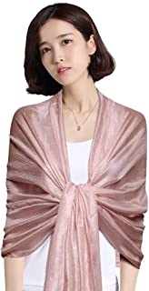 QBSM Womens Large Solid Sarong Soft Silky Bridal Evening Wedding Party Scarf Shawl Wraps