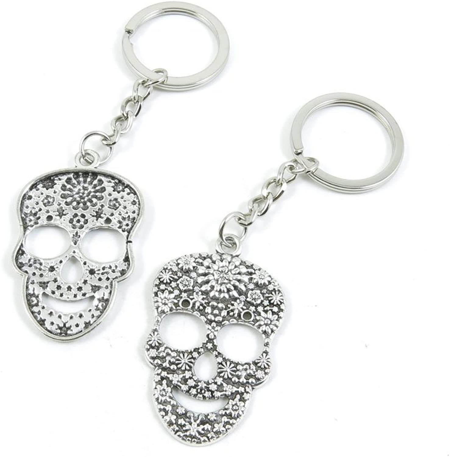 100 Pieces Keychain Keyring Door Car Key Chain Ring Tag Charms Bulk Supply Jewelry Making Clasp Findings O7WV2T Flower Skull Head