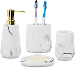 MyGift 4-Piece Modern White Marble & Brass Tone Bathroom Accessory Set with Soap Dish, Dispenser, Toothbrush Holder and Tu...