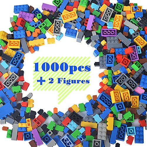 Lightaling Building Bricks Compatible with Lego - 1000 Pieces Bulk Building Blocks in Random Color - Mixed Shape - Includes 2 Figures