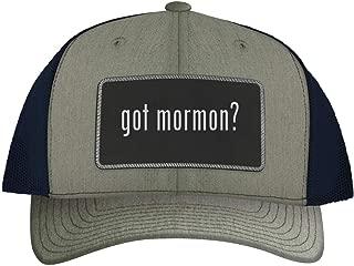 One Legging it Around got Mormon? - Leather Black Metallic Patch Engraved Trucker Hat