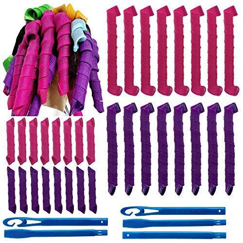 32Pcs Magic Spiral Lockenwickler Set Haarstyling Werkzeuge Keine Hitze Flexible DIY Lockenwickler mit Styling Haken für Frauen Mädchen (Rose Rot und Lila, 30 cm/55 cm)