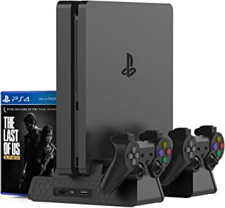 Kootek Vertical Stand for PS4 Slim/PS4 Pro/Regular PS4 Controller Charger with 3 Cooling Fan Games Storage, EXT Dual Charg...