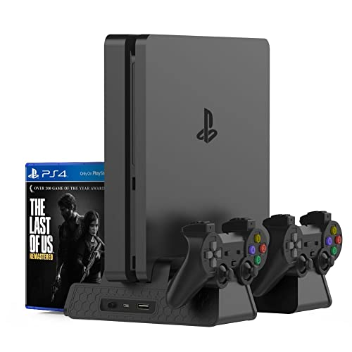 Kootek Vertical Stand for PS4 Slim / PS4 Pro/Regular PS4 Controller Charger with 3 Cooling Fan Games Storage, EXT Dual Charging Station for Playstation 4 Console Dualshock 4 Controller Accessories