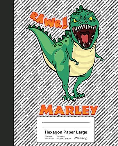 Hexagon Paper Large: MARLEY Dinosaur Rawr T-Rex Notebook (Weezag Hexagon Paper Large Notebook, Band 2165)