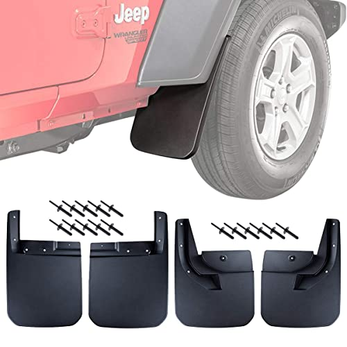 A-Premium Car Splash Guards Mud Flaps Mudflaps for Jeep Wrangler JK 2007-2016 Front and Rear 4-PC Set