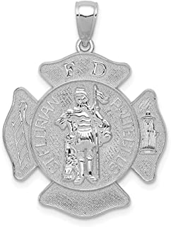 14K White Gold Saint Florian Prote Carat Us Fire Dept. Maltese Cross Pendant