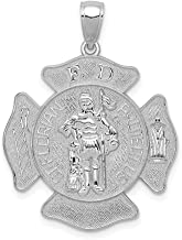 14k White Gold Large Saint Florian Badge Pendant Charm Necklace Career Professional Firefighter Religious Patron Medal St Fine Jewelry Gifts For Women For Her