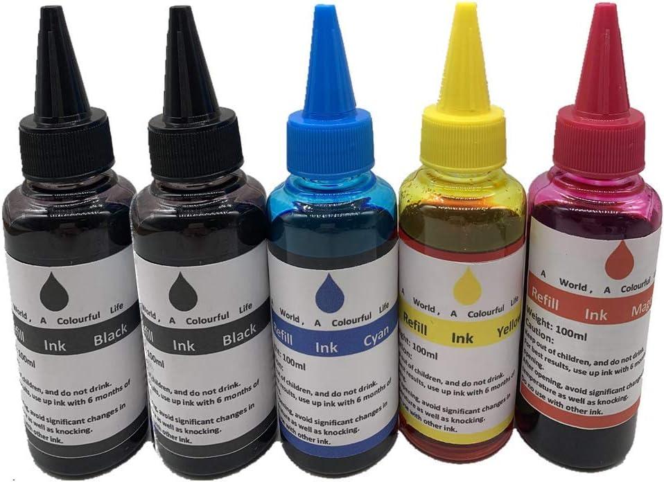 4 x 100ML Universal Refill Ink kit for Epson Canon HP Brother Lexmark DELL Kodak Inkjet Printer CISS Cartridge Printer Ink (4 Color + 1Black)