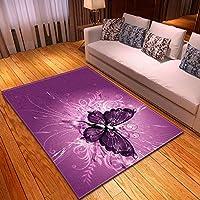 Shooyoo Alfombra de diseño 3D área Rugs Moderna Salon de Estar Cola Morada Mariposa Funky para el hogar Dormitorio Extra Grande Carpet Piso Antideslizante Lavable Estera de Yoga E4377-60x90cm