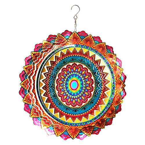 FONMY Stainless Steel Wind Spinner Worth Gift Indoor Outdoor Garden Decoration Crafts Ornaments 12 inch Multi Color Mandala Wind Spinners