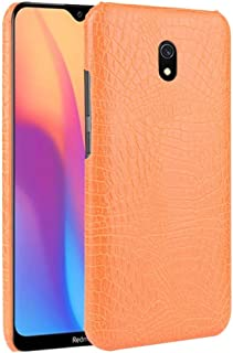 For Xiaomi Redmi 8A Shockproof Crocodile Texture PC + PU Case New (Black) Hopezs (Color : Orange)