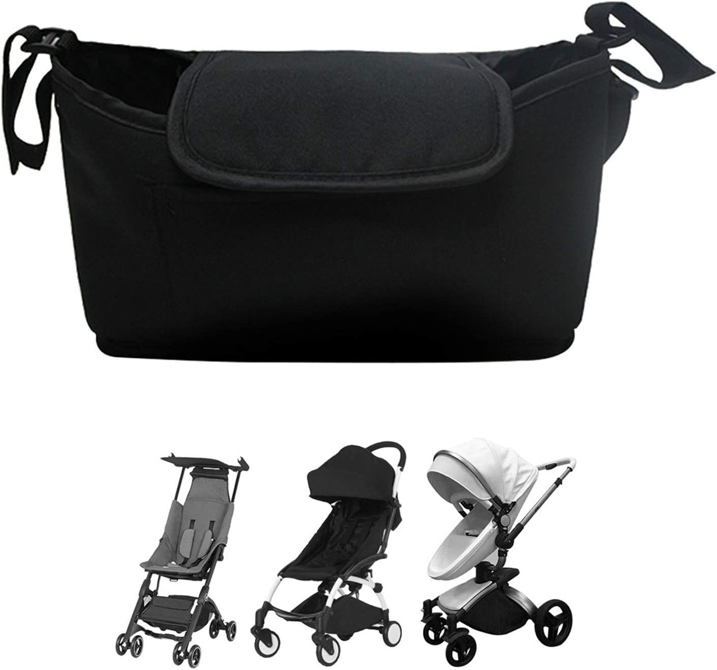 Non Slip Baby Stroller Organizer Bag with Cup Holder for Mom, Universal Fit for Uppababy Vista Cruz Nuna Baby Jogger Bob Baby Stroller and Stroller Accessories for Baby Boy Girl