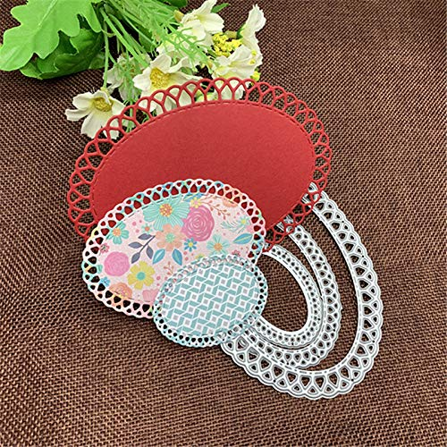 Oval Scallop Frame Metal Cutting Die Cuts, Oval Scallop Frame Stencils DIY Crafts Cards Cutting Dies Cuts for DIY Embossing Card Making Photo Decorative Paper Dies Scrapbooking