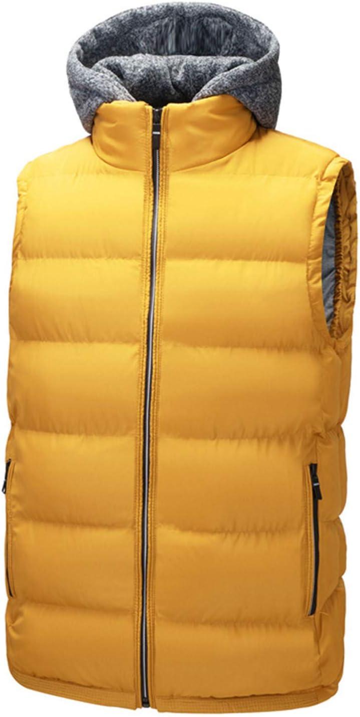 Snhpk Men's Cotton Vest Outerwear Gilets Coat Softshell Jacket, Winter Thicken Warm Windproof Overcoat Waistcoat,Yellow,XXXL