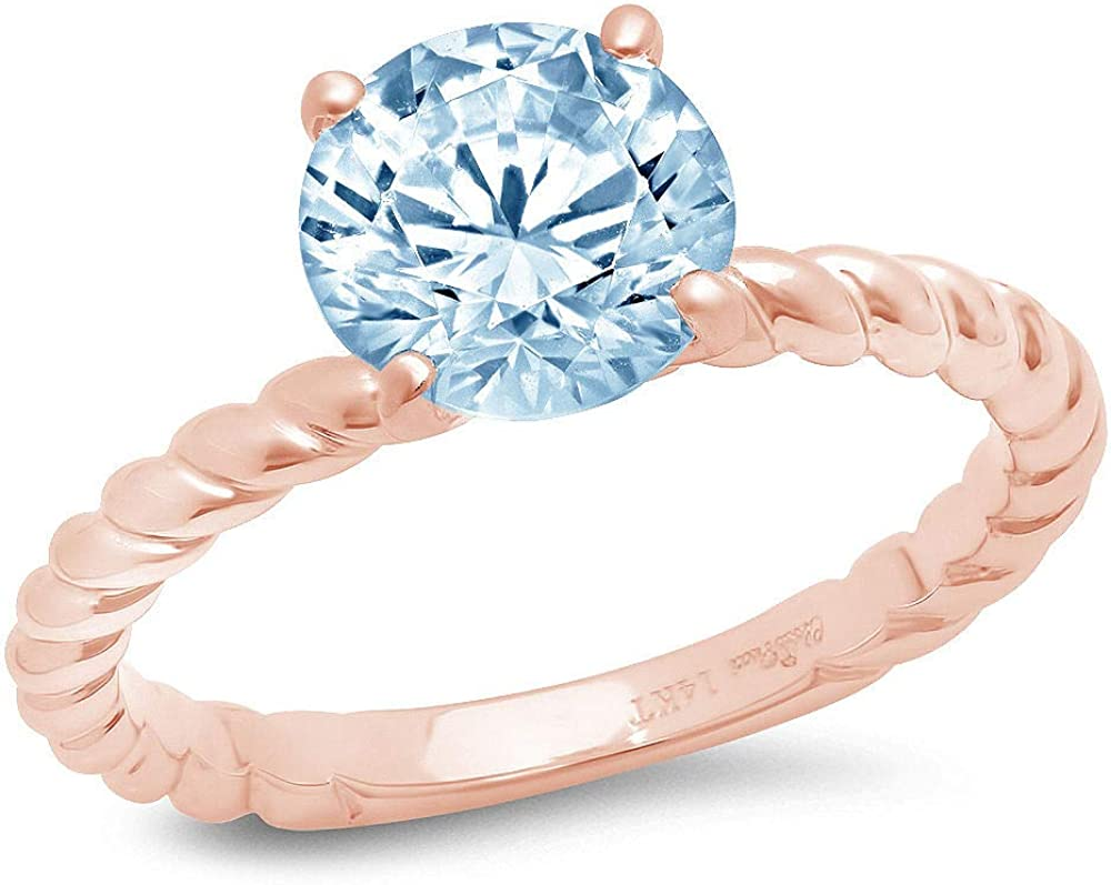 1.9ct Round Cut Solitaire Rope Twisted Knot Natural Sky Blue Topaz Ideal VVS1 4-Prong Engagement Wedding Bridal Promise Anniversary Ring Solid 14k Pink Rose Gold for Women