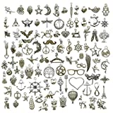 antico argento assortiti ciondoli fai da te,100 pezzi placcato in argento fai da te ciondolo per orecchini collana bracciale gioielli fabbricazione