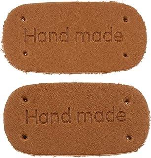 Bonarty 2 peças feitas à mão com etiqueta de couro de poliuretano, etiquetas para costurar roupas artesanais - Marrom 2, 4...