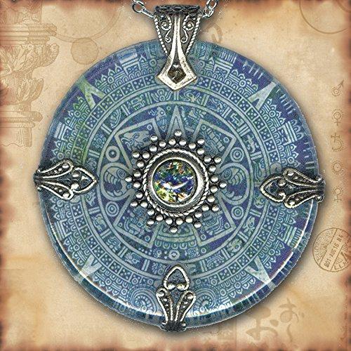 Mayan Calendar Motif Sterling Silver Necklace Folk Art Tribal Necklace Epic Mexican Aztec Calendar Bib Necklace