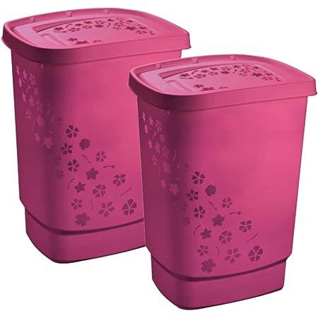Rotho Flowers Collecteur Set de 2 Bacs à linge 55l avec couvercle, plastique (PP) sans BPA, rose, 55l (44,7 x 34,7 x 60,5 cm)