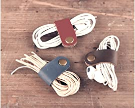 ZE Handmade Genuine Leather Button Closure Cable Organizer for USB Cables,Mobile Phone Charge Wires,Laptop Cords,Earbuds/Earphones Wires Set of 3