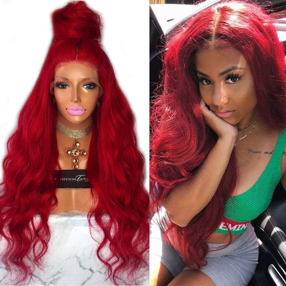 Lace Front Human Hair Wigs for Women Hairline 格安SALEスタート Pre Plucked Co Red 専門店
