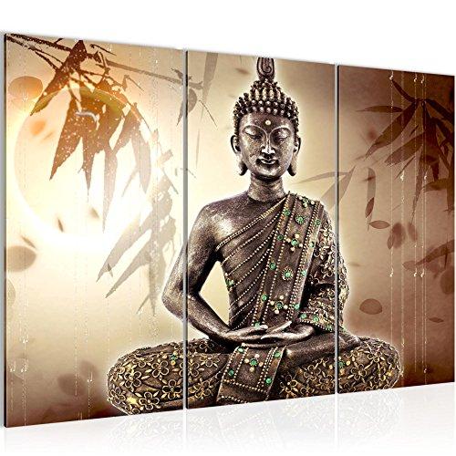 Bilder Buddha Wandbild 120 x 80 cm Vlies - Leinwand Bild XXL Format Wandbilder Wohnzimmer Wohnung Deko Kunstdrucke Braun 3 Teilig - MADE IN GERMANY - Fertig zum Aufhängen 500331a
